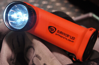 Streamlight Survivor on the bumper of the engine